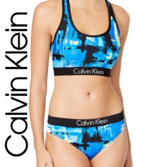 13f24a8556 Calvin Klein Swim | Womens Cyan Racerback Bikini Set | Poshmark